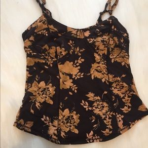 Free people bustier black rose print top small